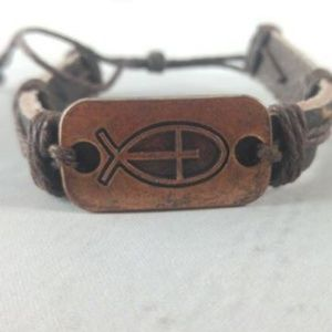 Jewelry - Leather Cuff With Cross/Ichthys Charm